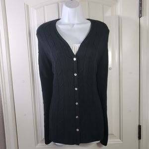 Valerie Stevens 100% Silk Knit Cardigan Sweater